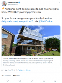 Announcement Families able to add two storeys to home WITHOUT planning permission | Robert Jenrick on Twitter