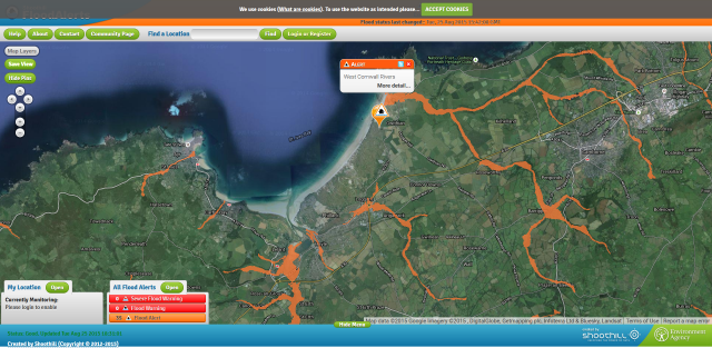 Flood Alert, 5:21PM 25/08/2015, West Cornwall Rivers, http://floodalerts.com/?id=92366