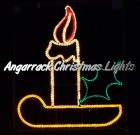 Angarrack Christmas Lights - Candle with holder and holly